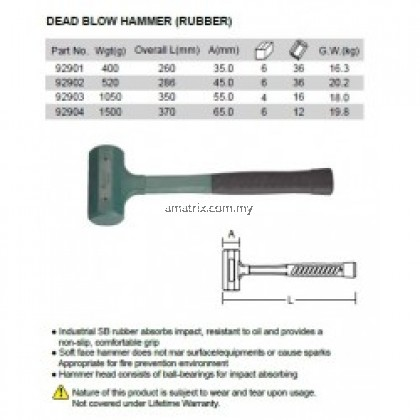 45MM Rubber Dead Blow Hammers 286mm (lenght)