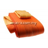 WARRIOR DOUBLE PLY POLYESTER FLAT WEBBING SLING 12TON X 4M (L) WITH REINFORCED LIFTING EYES (ORANGE )