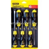 STANLEY CUSHION GRIP SCREWDRIVERS SETS -6pce Standard Tip: 6.5x150mm, 5x100mm (Parallel), 5x100mm,