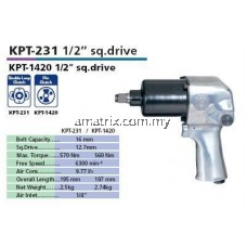 "KAWASAKI KPT-231 1/2""Air Impact Wrench (Japan)Bolt Capacity  16 mm  Sq.Drive  12.7 mm  Max Torque  570 Nm  Free Speed  6,300 min-1  Air Cons.  9.77 l/s  Overall Length-195mm"