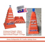Collapsible Safety Active Square Cone (AM-SC02) red orange
