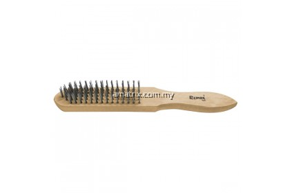 4 ROW STEEL WIRE BRUSH Natural hardwood handle Tempered carbon steel bristles 290MM(L)