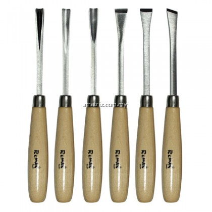 6 PCE WOOD CARVING CHISEL SETCutting edges such as gouge, skew, parting, straight, paring, and V-groove(54-CC106)