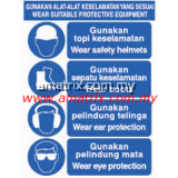 AMMS8809 WEAR SUITABLE PROTECTIVE EQUIPMENT Safety Signages Width X Height: 300 X 400mm