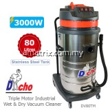 Triple Motor Industrial Wet & Dry Vacuum Cleaner (3000W/80Litres)