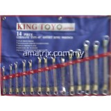 King Toyo KTDRS-14 14pcs 45º Offset Double Ring Wrench Set (6PT/12PT) 8-24mm