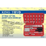 "KINGTOYO 47 PIECE 1/4"" DR. SOCKET & BITS SOCKET SET"