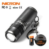 NICRON B10 3W Mini LED Flashlight Keychain Torch USB Light Waterproof LED USB Rechargeable Lamp