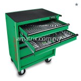 TOPTUL GE-20815 208PCS MECHANICAL TOOL SET W/6-DRAWER MOBILE TOOL TROLLEY(EPE Foam Trays)