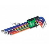 TOPTUL GAAL0918 9PCS RAINBOW EXTRA LONG BALL POINT HEX KEY WRENCH SET