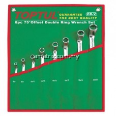 TOPTUL GAAA0810 8 Pcs 75° Offset Double Ring Wrench Set