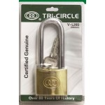 TRI-CIRCLE V-L263 LONG SHACKLE BRASS PADLOCK 32MM
