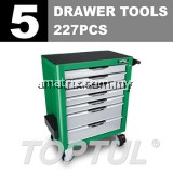 TOPTUL GCAJ227G 5 Drawer Tools W/7-Drawer Tool Trolley - 227PCS Mechanical Tool Set (PRO-PLUS SERIES) Matte Finished