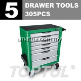 TOPTUL GCAJ305G 5 Drawer Tools W/7-Drawer Tool Trolley - 305PCS Mechanical Tool Set (PRO-PLUS SERIES) GREEN - Matte Finished