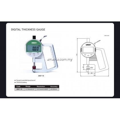 INSIZE 2867-10 DIGITAL THICKNESS GAGE