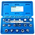 "King Toyo KT-4017PK 17pcs 3/8"" Oil Drain Plug Key Set (With T-Handle)"