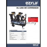 EZYLIF HEG60T 1.5HP x2 Twin Pump 60Liter Oil-Free Silent Air Compressor