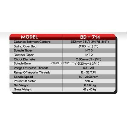 "Jetmac BD-714 0.75HP 7"" x 14"" Variable Speed Mini Lathe Machine"