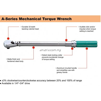 "SATA 96312 1/2"" DR MECHANICAL TORQUE WRENCH SATA 40-200NM"