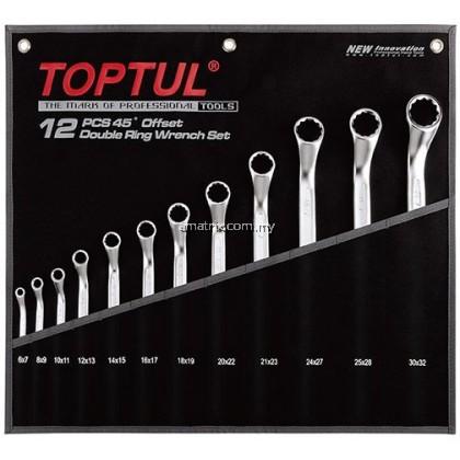 TOPTUL GPAH1202 12PCS Double Ring 45° Wrench Set