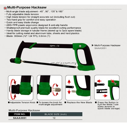 Toptul SAAA3051 Multi-purpose Hacksaw Multi-angle blade adjustment