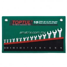 TOPTUL GRAJ1501 15PCS 15° & 75° DOUBLE OPEN END WRENCH SET - POUCH BAG - GREEN (SATIN CHROME FINISHED)