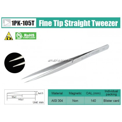 ProsKit 1PK-105T Fine Tip Straight Tweezer No.SS/140mm